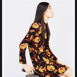 👗Zara Black Floral Vintage-Inspired Mini Dress XS